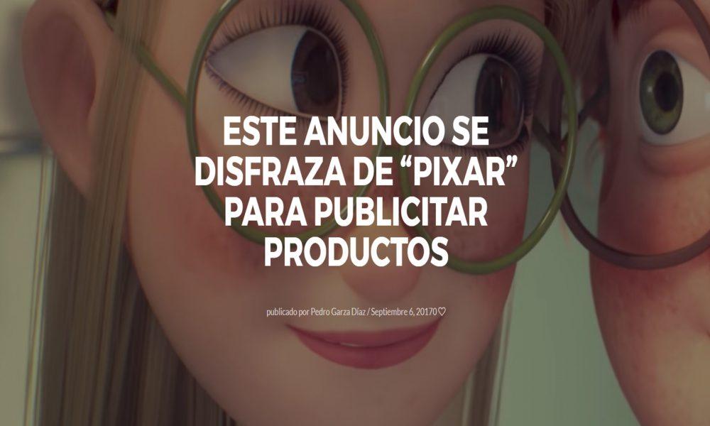 este anuncio se difraza de pixar para publicitar productos